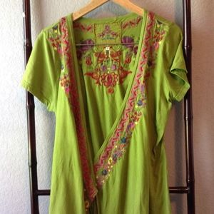 *Adorbs* Johnny Was Green Embroidered Wrap Top